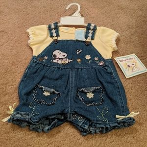Baby Snoopy overall set. NWT. 3-6 months